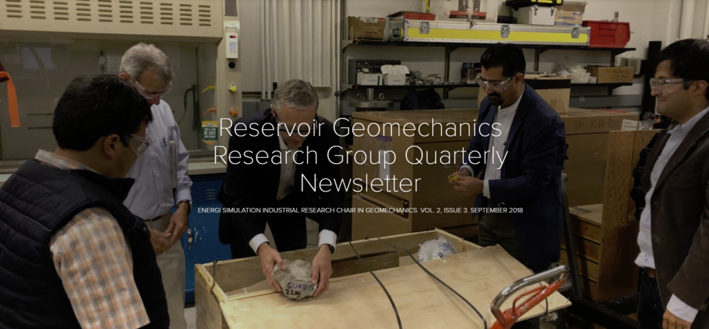 University of Alberta – Energi Simulation Industrial Research Chair in Geomechanics Newsletter